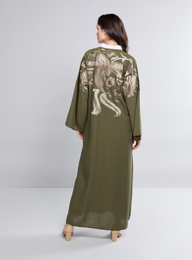 Embroidered Abaya with Long Sleeves and Button Closure