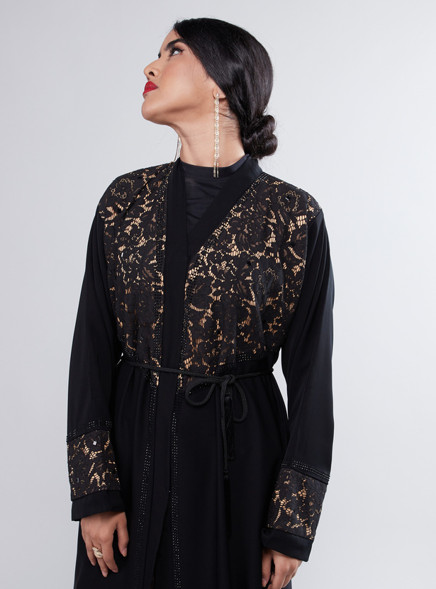 Lace Detail Maxi Abaya with Long Sleeves and Tie Ups