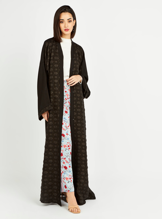 Printed Abaya with Long Sleeves and Tie Ups