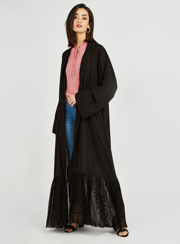 V-neck Abaya with Long Sleeves and Pleated Panel