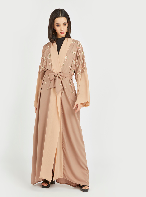 Embroidered Abaya with Long Sleeves and Belt