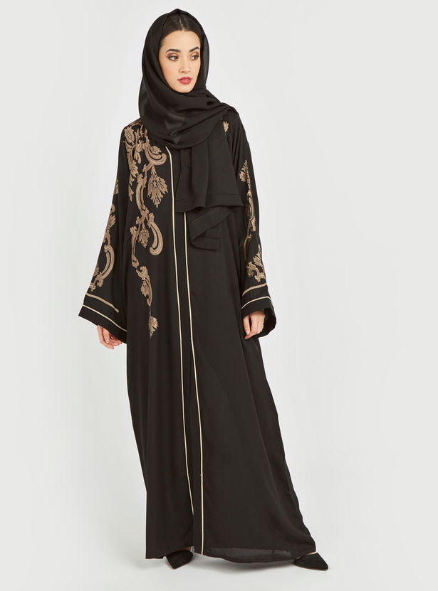 Embroidered Abaya with V-neck and Long Sleeves