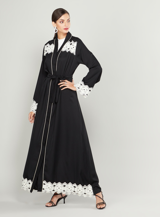 Abaya with Long Sleeves and Lace Inserts