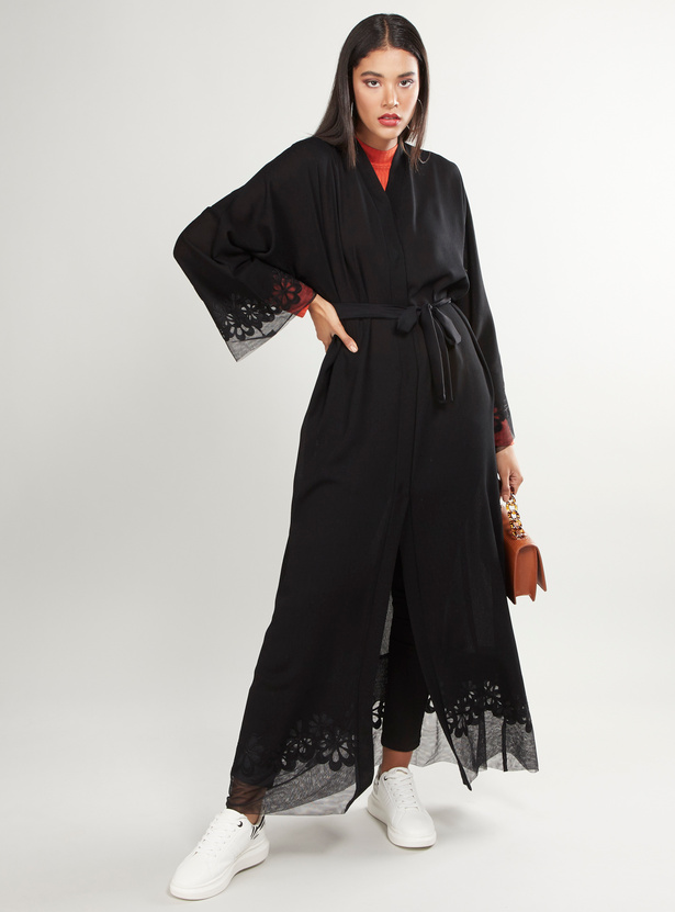 Plain Abaya with Long Sleeves and Lace Detail