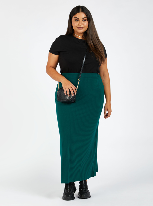Solid Maxi A-line Skirt with Elasticised Waistband