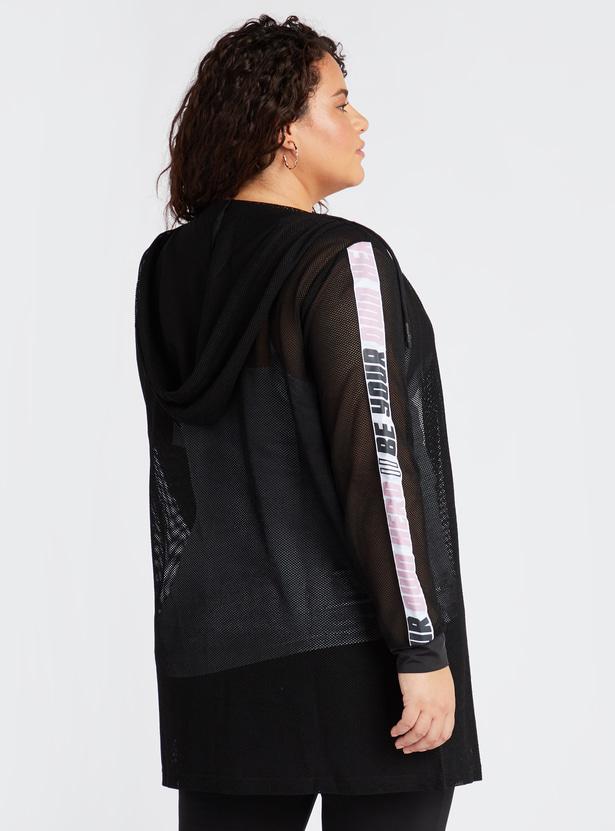 Longline Mesh Hoodie with Long Sleeves