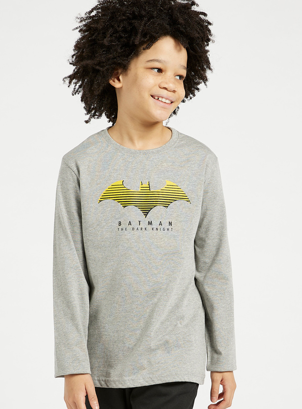 Batman Graphic Print T-shirt with Round Neck and Long Sleeves