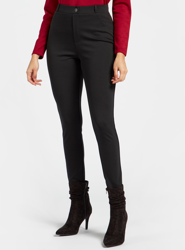 Solid Mid-Rise Ponte Pants with Button Closure