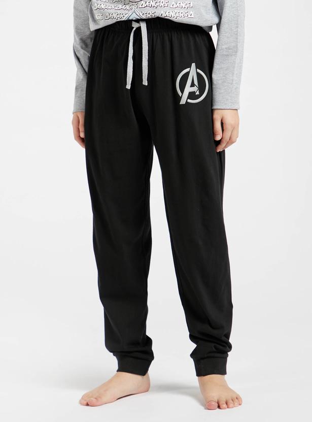 Avengers Print Long Sleeve T-shirt and Full Length Pyjama Set