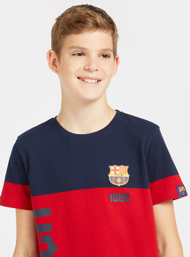 Barcelona Colourblock T-shirt with Round Neck and Short Sleeves