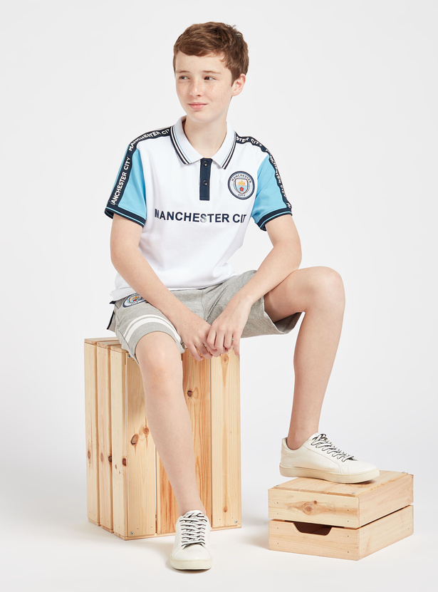 Manchester City Print Polo T-shirt with Short Sleeves