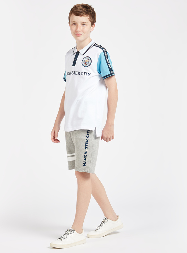 Manchester City Embroidered Shorts with Drawstring and Pockets