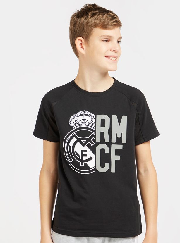 Real Madrid Printed Round Neck T-shirt with Short Sleeves