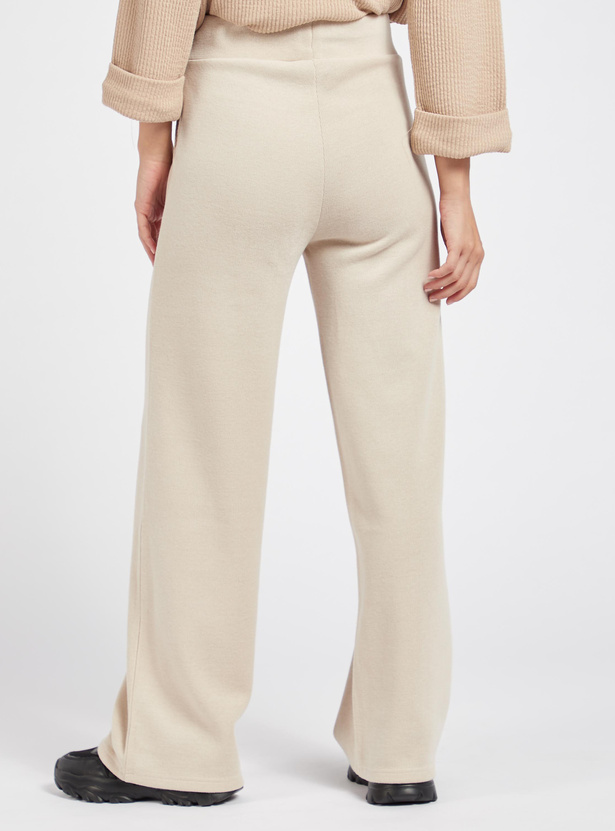 Solid Track Pants with Elasticised Waistband and Drawstring