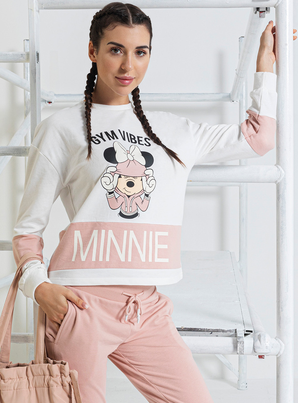 Minnie Mouse Print Round Neck Sweatshirt with Long Sleeves