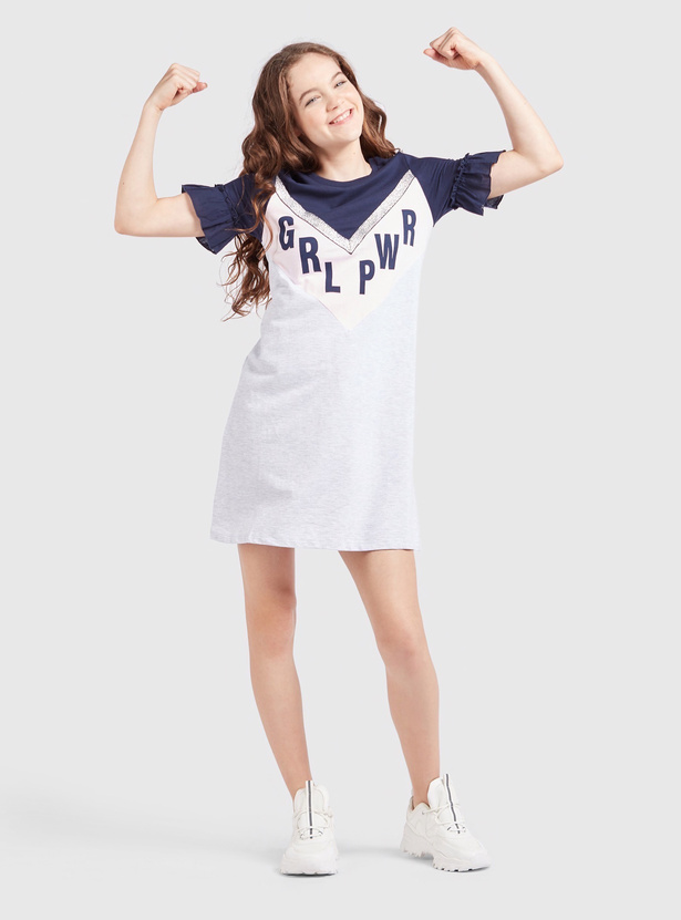 Printed Mini Dress with Ruffled Sleeves and Round Neck