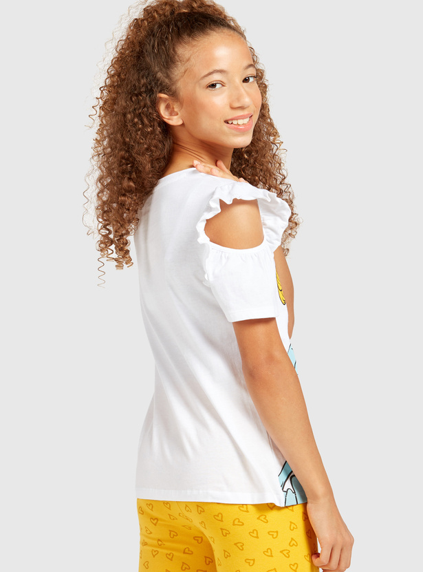 Cinderella Print Cold Shoulder T-shirt with Ruffle Detail