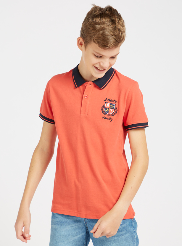 Embroidered Detail Polo Neck T-shirt with Short Sleeves