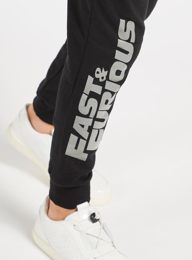 Fast & Furious Print Jog Pants with Pocket Detail