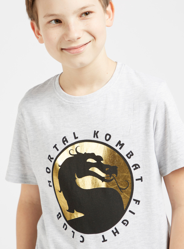 Mortal Kombat Print T-shirt with Round Neck and Short Sleeves