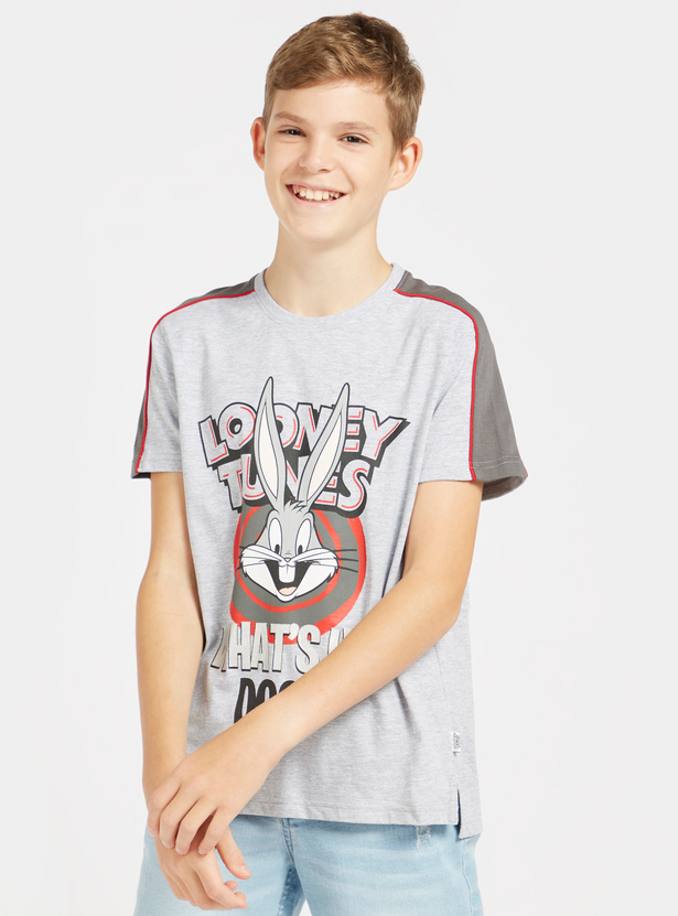 Looney Tunes Graphic Print T-shirt with Round Neck