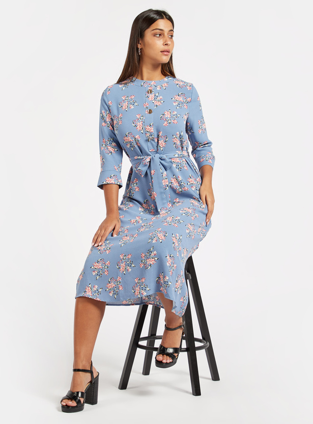 Floral Print Midi Dress with 3/4 Sleeves and Belt