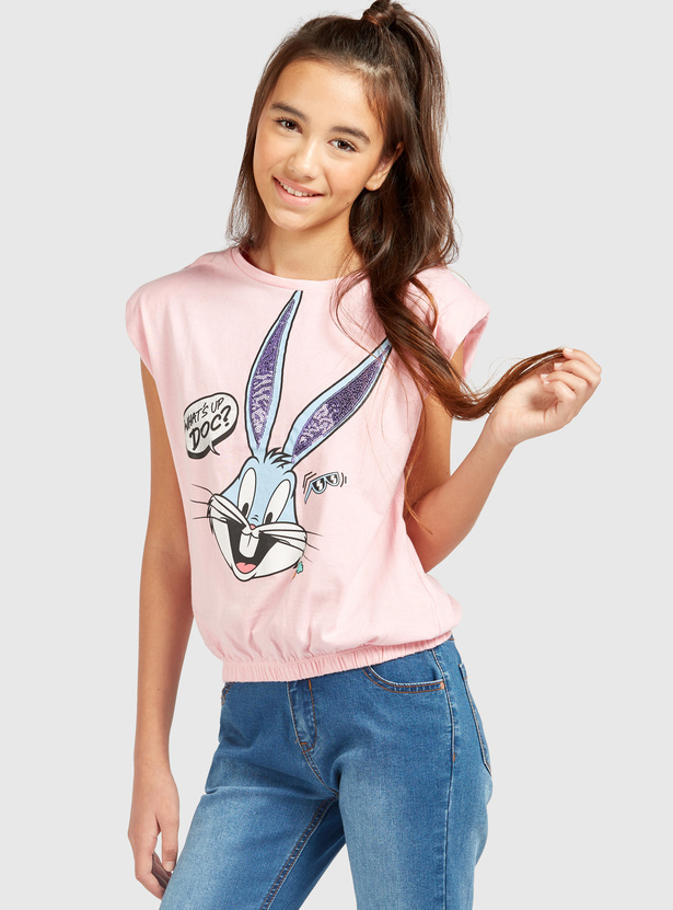 Bugs Bunny Graphic Print Sleeveless T-shirt with Round Neck