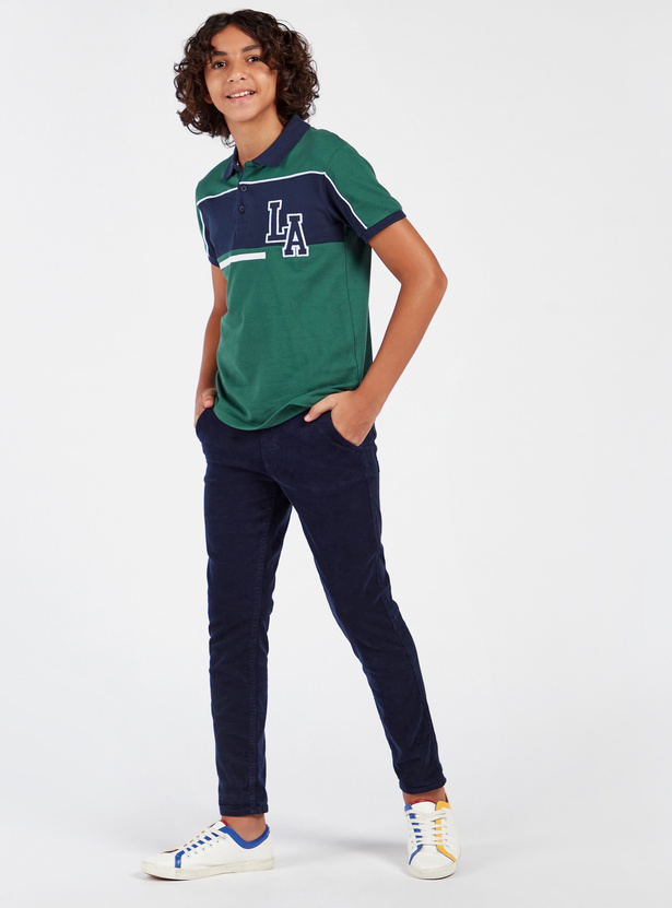Panelled Polo Shirt with Short Sleeves and Button Closure