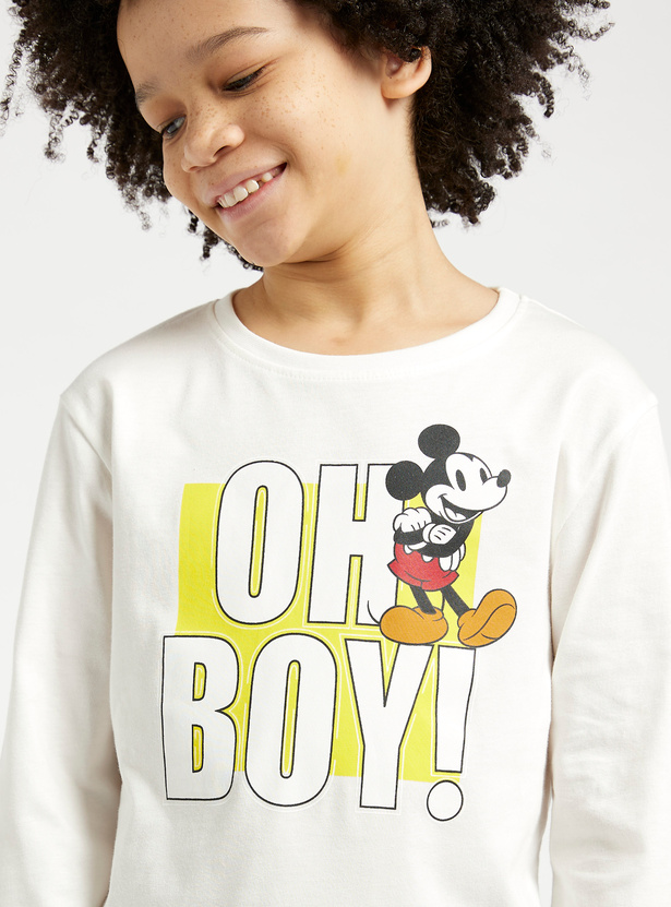 Mickey Mouse Graphic Print T-shirt with Round Neck and Long Sleeves
