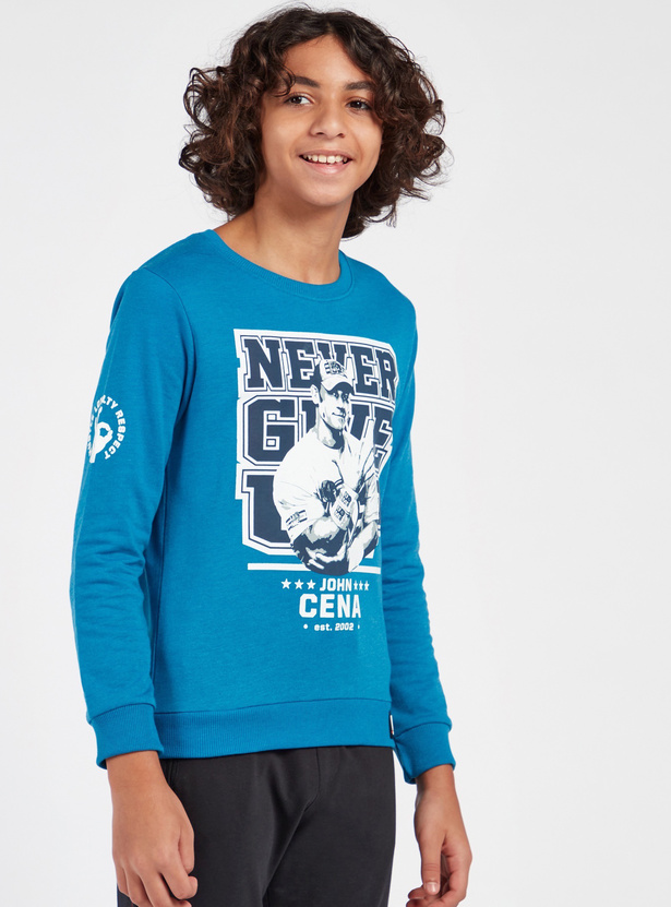 WWE Print Round Neck Sweatshirt with Long Sleeves