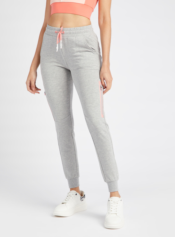 Solid Jog Pants with Pockets and Zip Detail