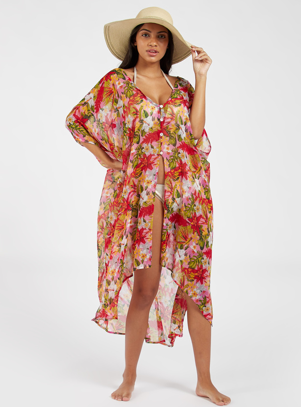 Floral Print V-neck Cover Up with 3/4 Sleeves