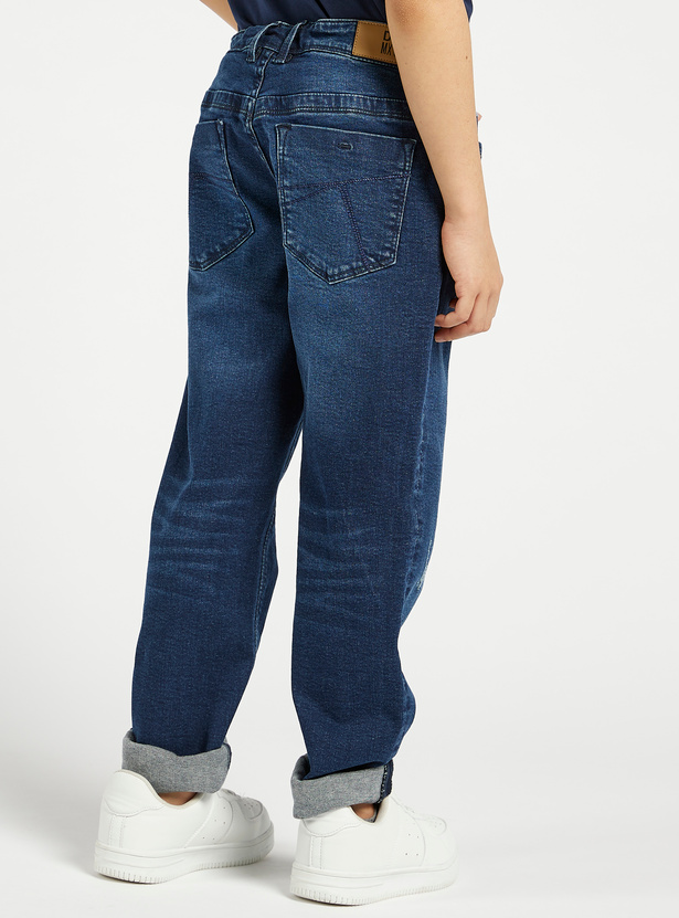 Solid Full-Length Denim Jeans with Button Closure