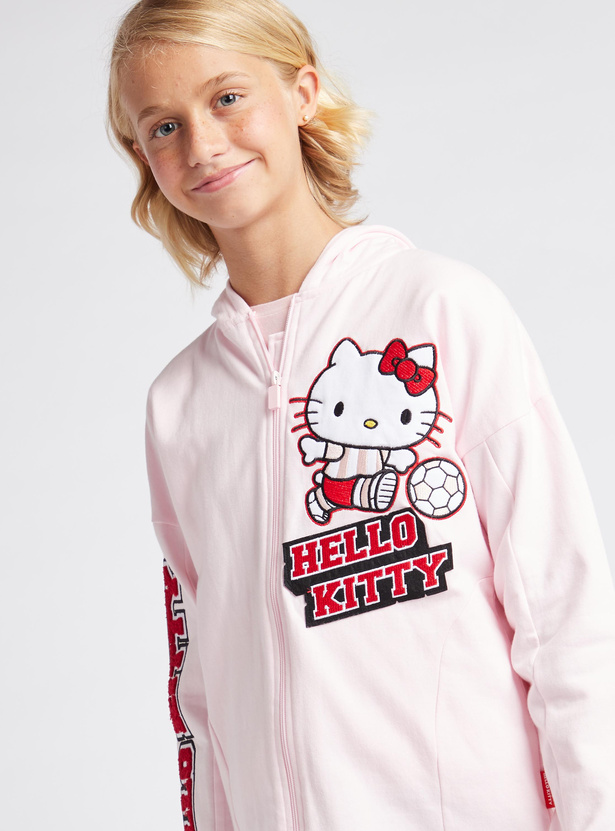 Hello Kitty Print Hooded Neck Jacket with Long Sleeves