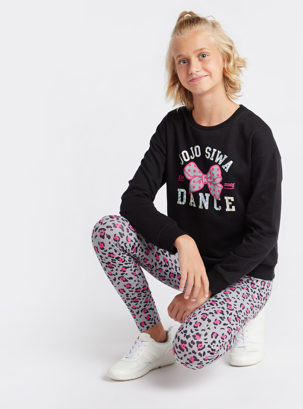 JoJo Siwa Print Round Neck Sweatshirt with Long Sleeves