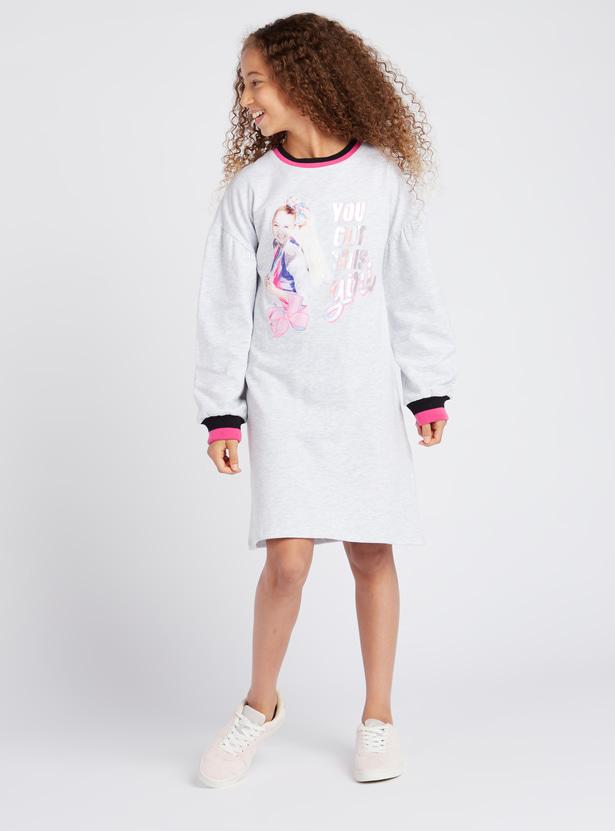 JoJo Siva Print Knee Length Sweat Dress with Long Sleeves and Round Neck
