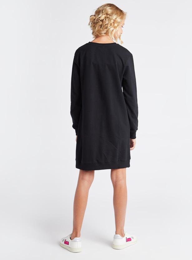 Cruella Print Mini Sweat Dress with Round Neck and Long Sleeves