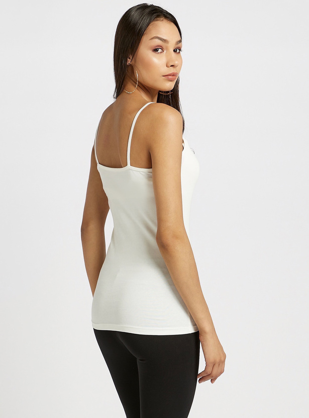 Lace Detail Camisole with Scoop Neck and Spaghetti Straps