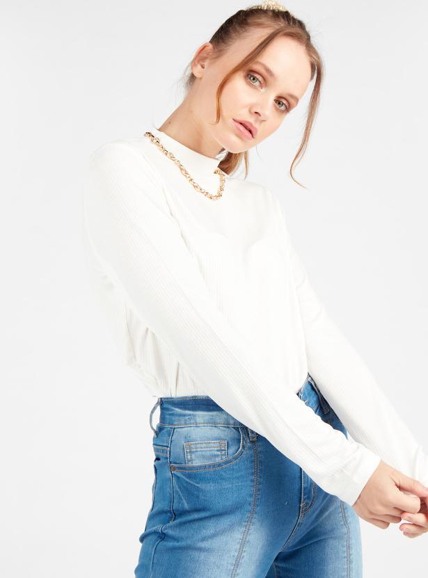 Textured T-shirt with High Neck and Long Sleeves
