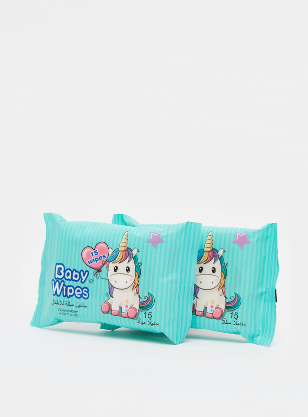 Pack of 2 - Unicorn Print 15-Piece Baby Wipes