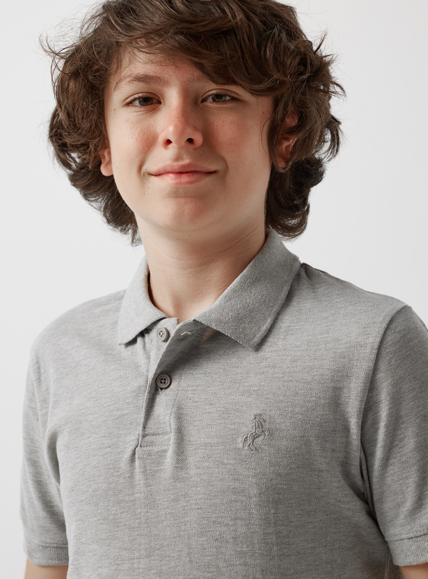 Melange Print Polo T-shirt with Short Sleeves