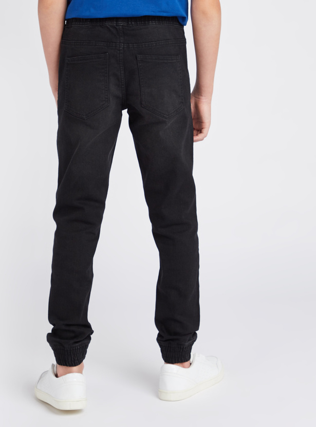 Solid Full Length Denim Joggers with Pockets and Elasticated Waist