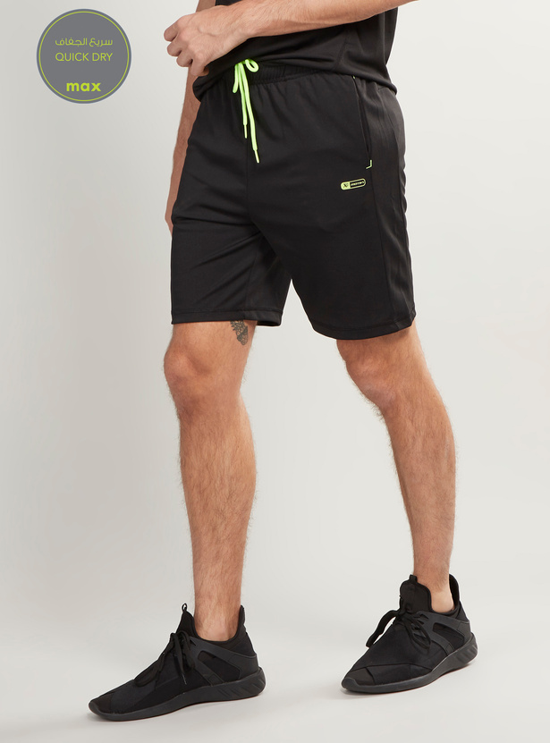 Printed Quick Dry Reflective Shorts with Drawstring Closure