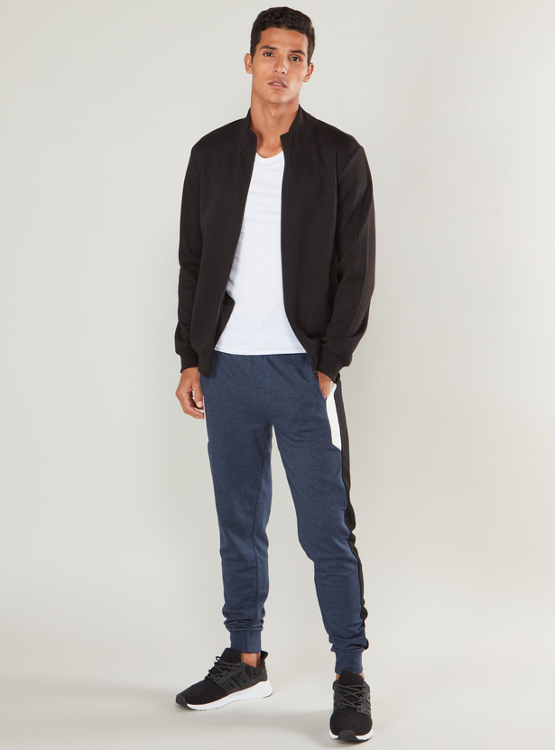 Slim Fit Textured Jog Pants with Pockets and Elasticised Waistband