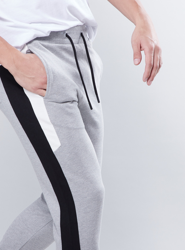 Tape Detail Joggers with Pockets and Drawstring Closure