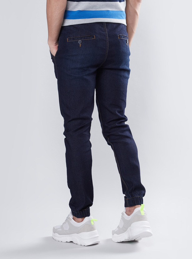 Slim Fit Denim Joggers with Drawstring Closure
