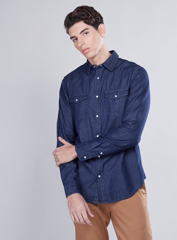 Denim Shirt with Buttoned Flap Pockets and Long Sleeves