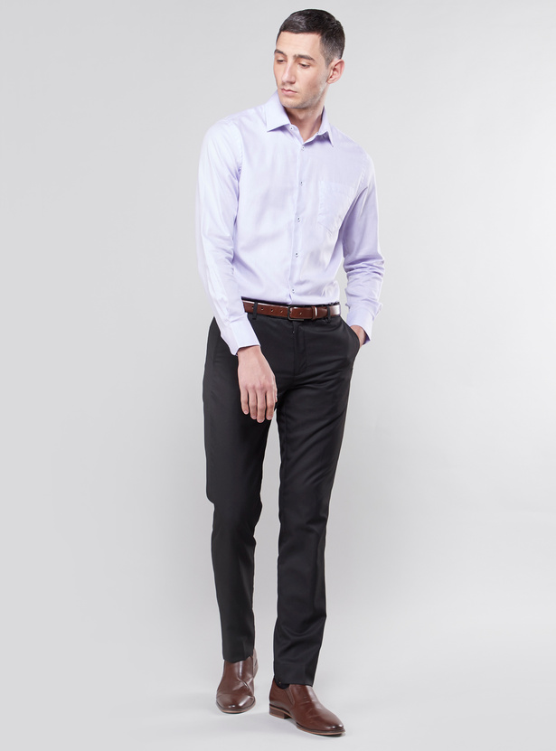 Solid Shirt with Long Sleeves and Pocket Detail