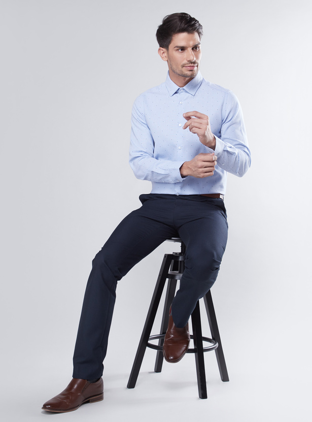 Slim Fit Printed Shirt with Long Sleeves