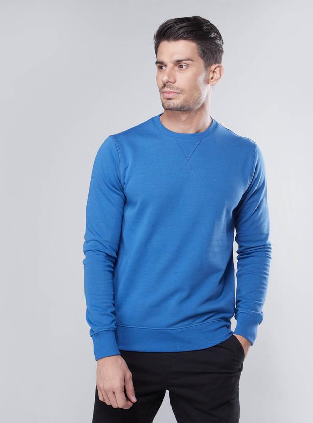 Plain Sweatshirt with Ribbed Hems